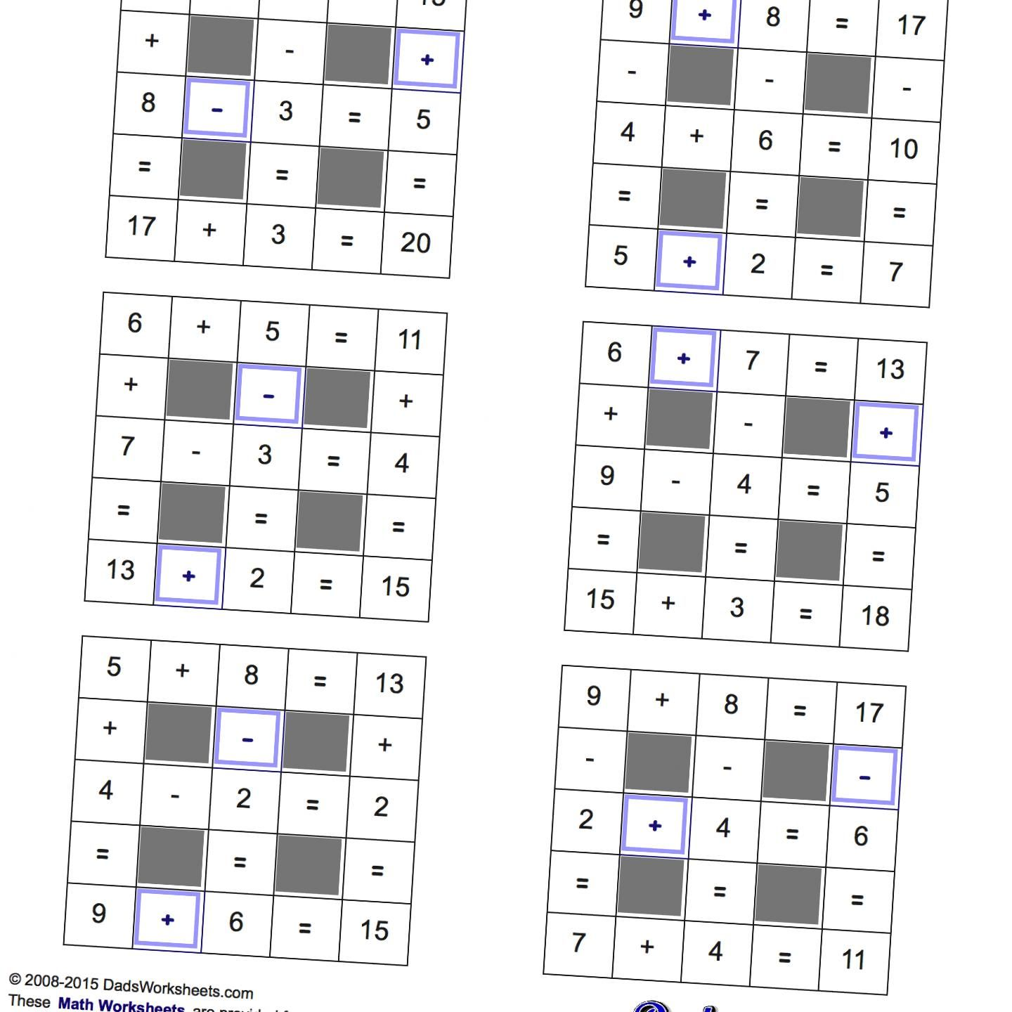 Math Worksheets Addition And Subtraction With Missing