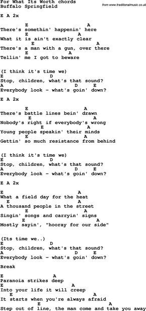 Song Lyrics with guitar chords for For What Its Worth | songs ...