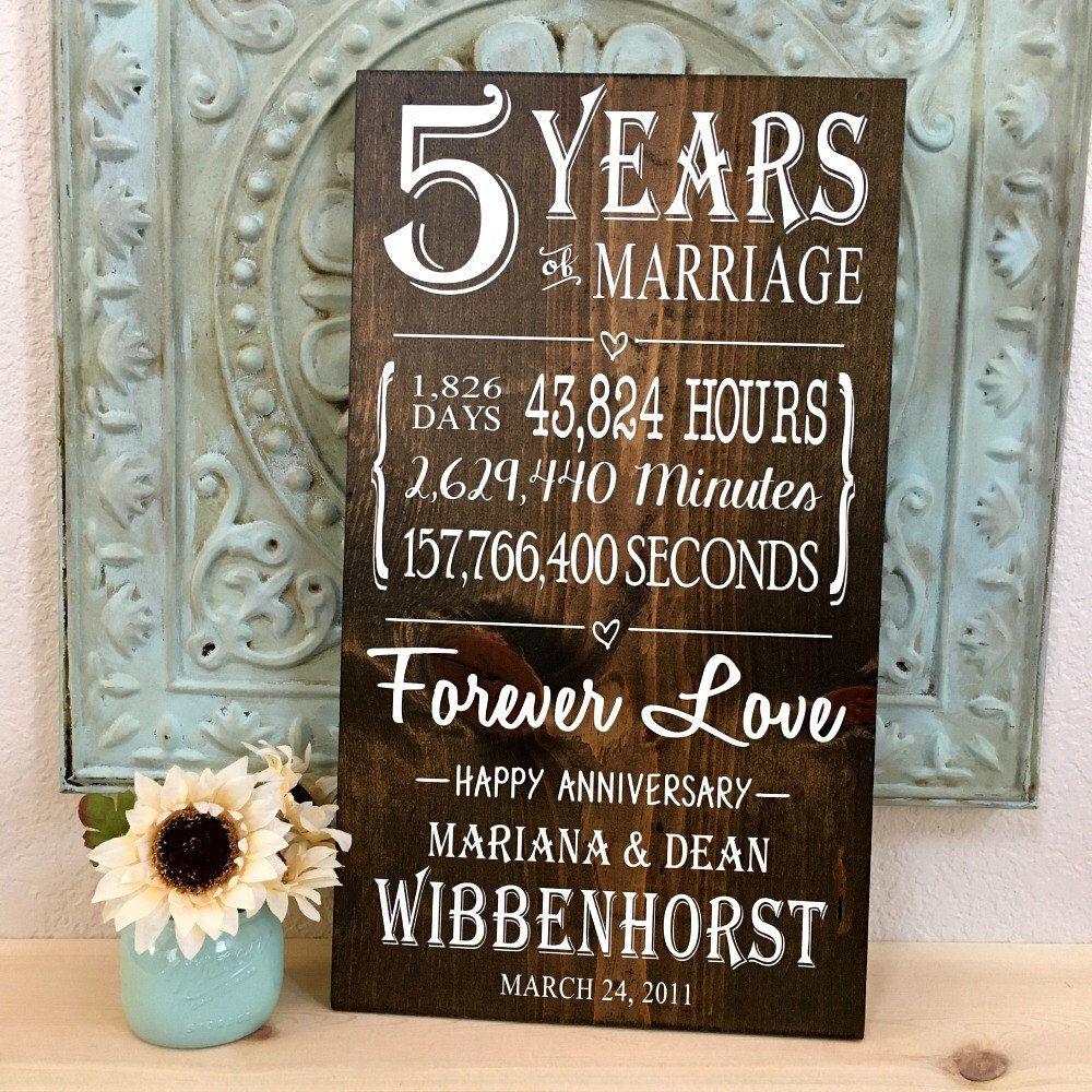 5 Year Anniversary, 5th Anniversary Gift, Anniversary Wood