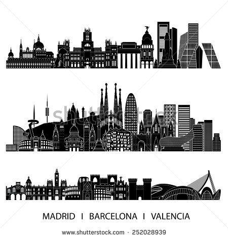 city skyline detailed silhouette set madrid barcelona valencia vector illustration espa a. Black Bedroom Furniture Sets. Home Design Ideas