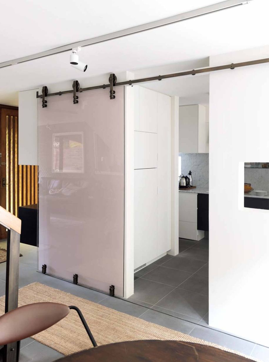 70s Renovation In Sydney S Potts Point Renovations Glass Shelves Decor Sliding Bathroom Doors