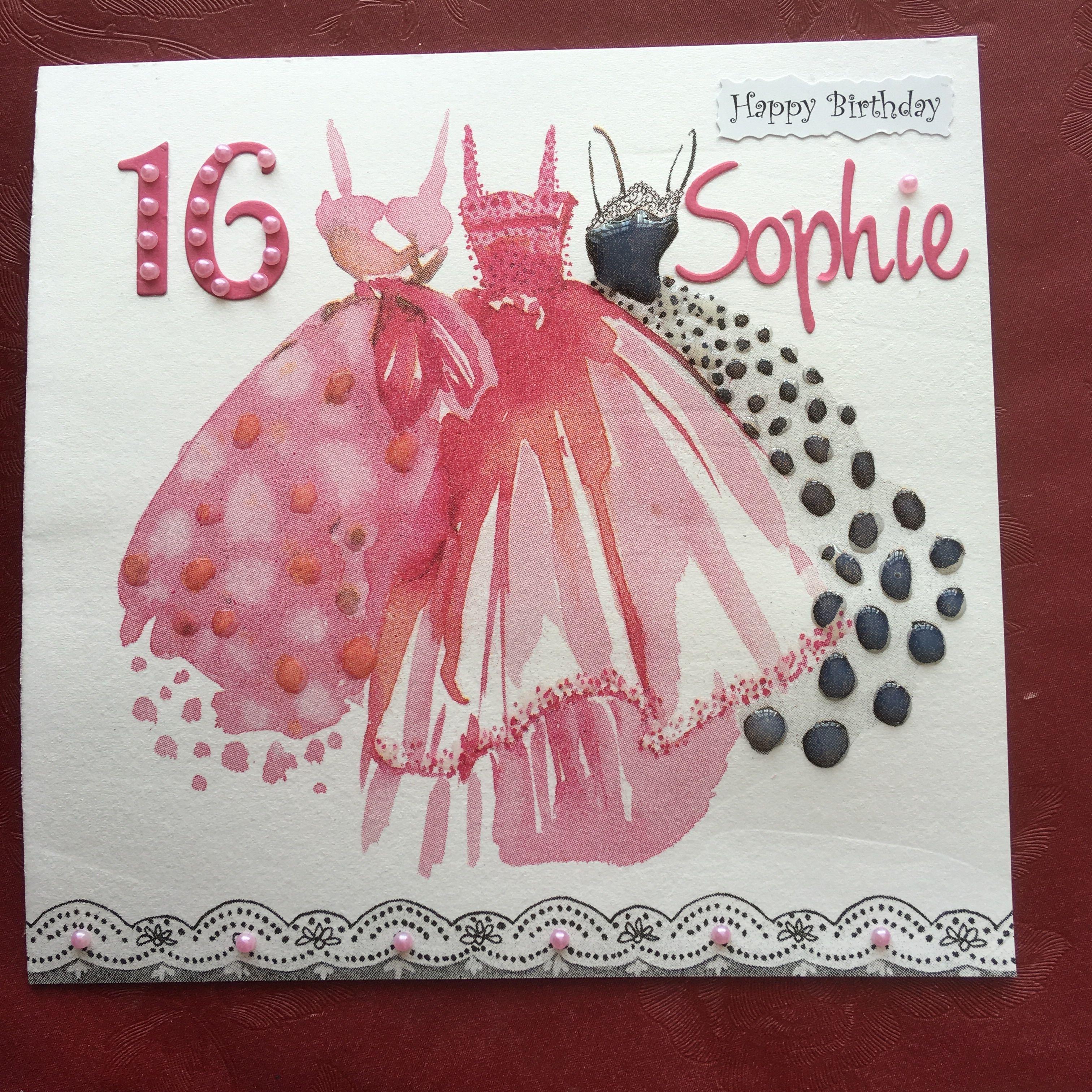 Serviette Birthday card Happy 16th birthday, Birthday