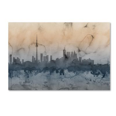 "Trademark Art Toronto Canada Skyline by Michael Tompsett Graphic Art on Wrapped Canvas Size: 22"" H x 32"" W x 2"" D"