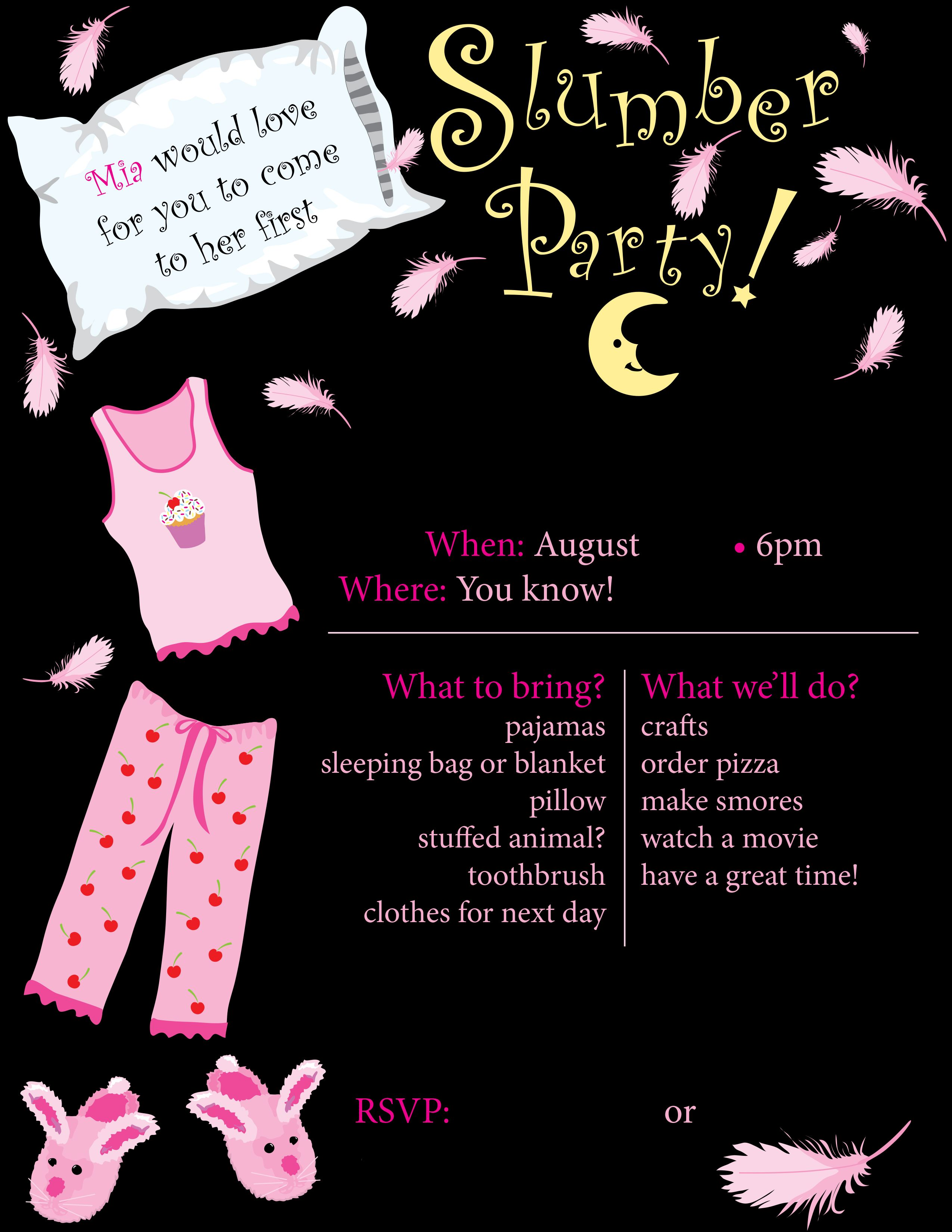 Slumber Party Flyer Invitation For Daughters First
