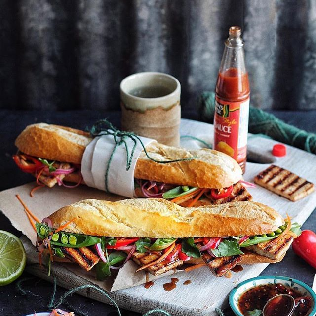 Grilled Sticky Tofu Sandwich  by @avantgardevegan