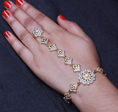 Indian Women Bracelet Attach With Ring Gold Plated Jewelry Jewelry Gold Pendent Hand Bracelet With Ring