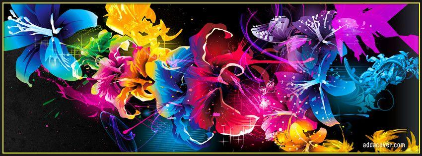 Groovy Rainbow Abstract Flowers Facebook Cover Cover Photos Interior Design Ideas Truasarkarijobsexamcom