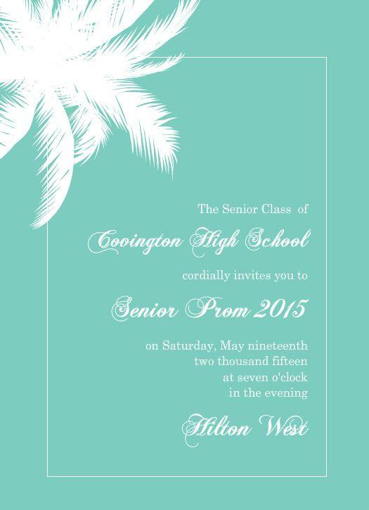 hawaiian prom themes Turqoise Tropical Paradise Prom Invitation - prom invitation templates
