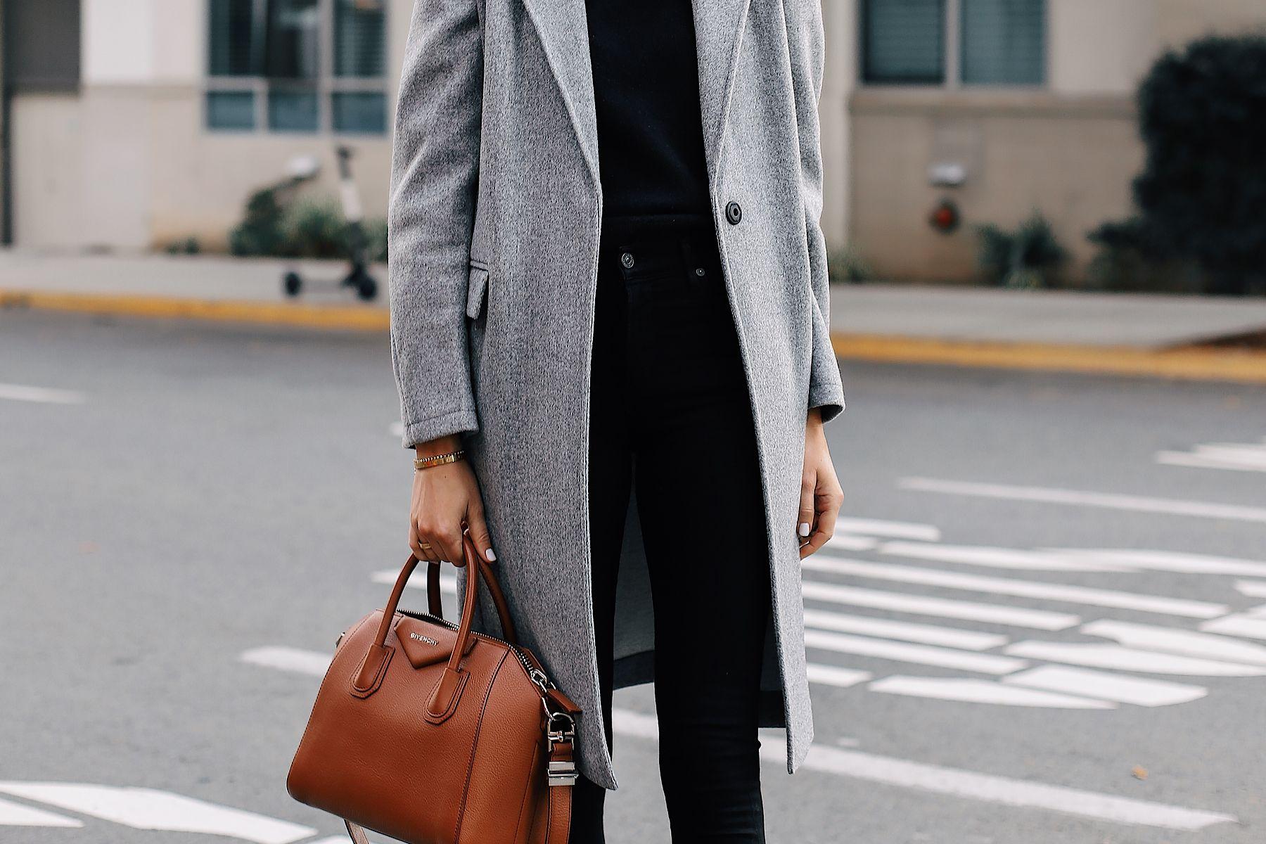 c664885311d7 Woman Wearing Topshop Grey Coat Black Skinny Jeans Givenchy Antigona Cognac  Handbag Fashion Jackson San Diego Fashion Blogger Street Style