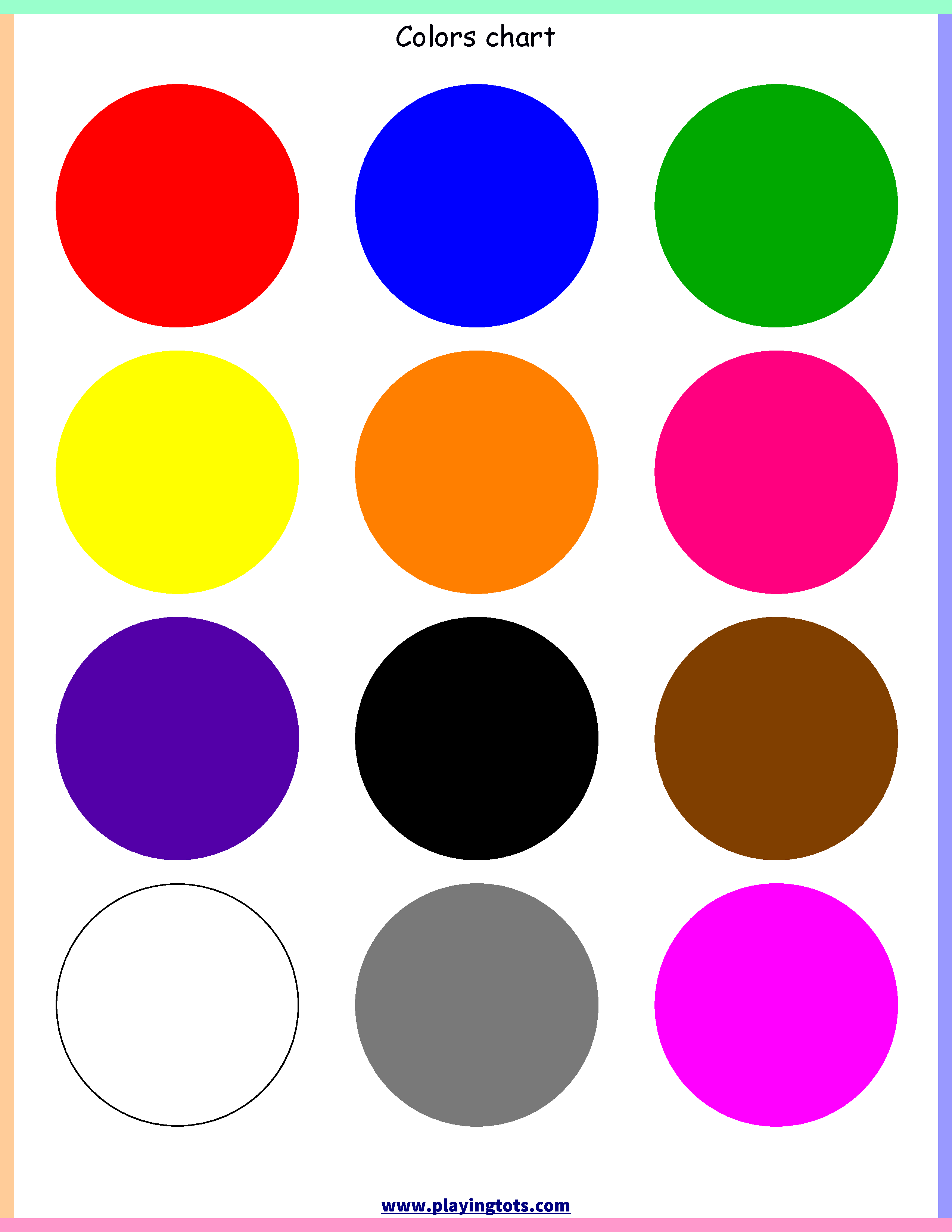 photograph regarding Printable Color Chart called Cost-free printable for youngsters (babies/preschoolers) flash playing cards