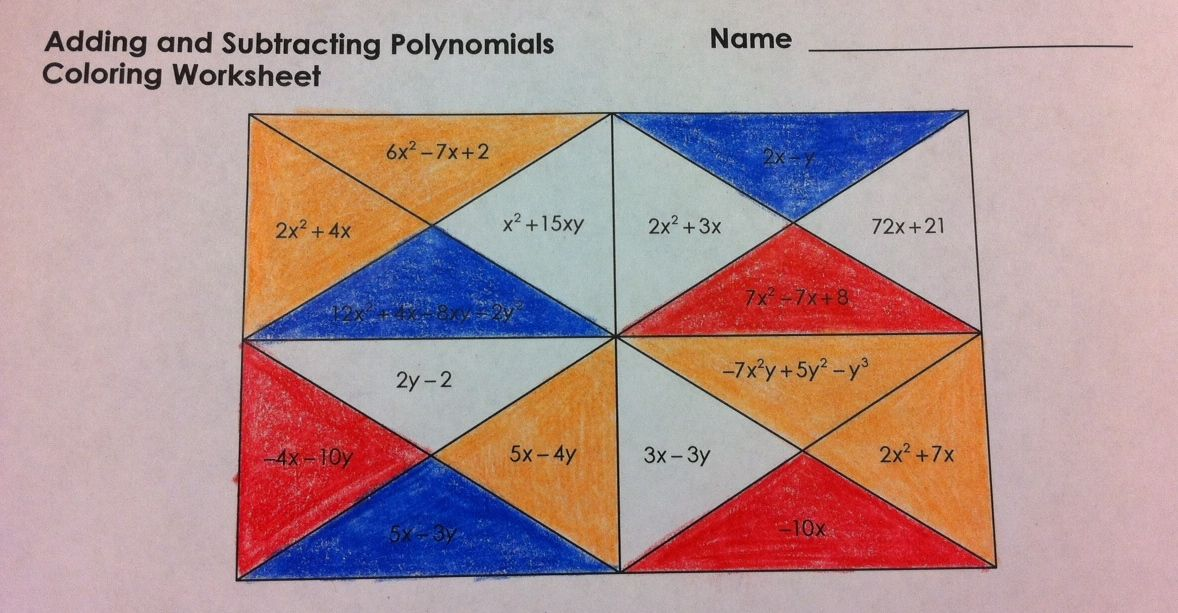 Add and Subtract Polynomials Coloring Worksheet | Algebra I | Adding ...