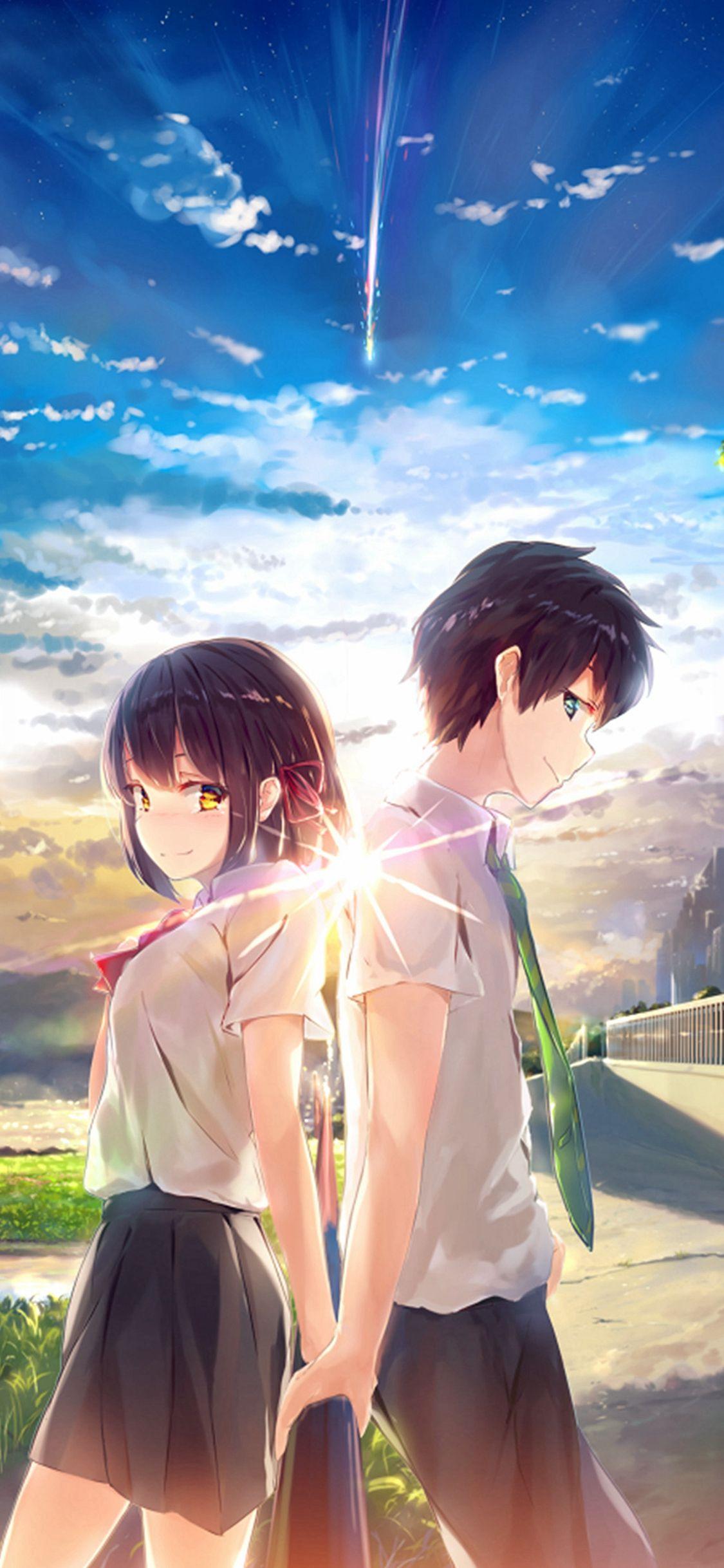Anime Yourname Sky Illustration Art IPhone X Wallpaper