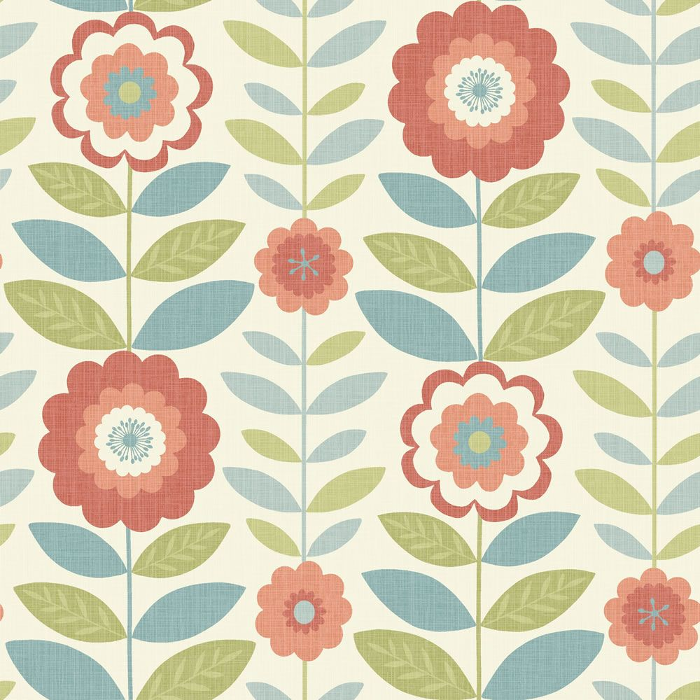 Kitchen wallpaper retro - Flower Power Coral And Teal Wallpaper Wilko Have A Range Called Camper I Think
