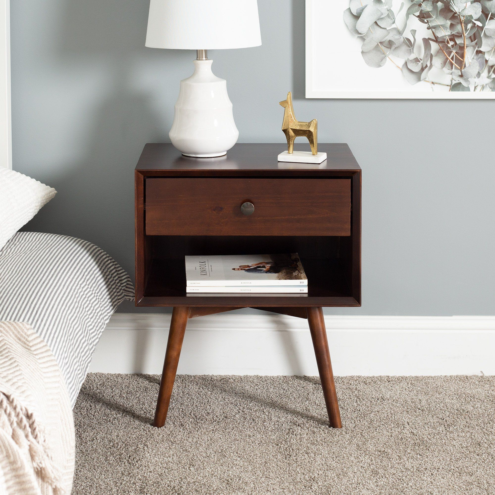 Mid Century 1 Drawer Solid Wood Nightstand In 2021 Wood Nightstand Mid Century Modern Wood Mid Century Modern Nightstand