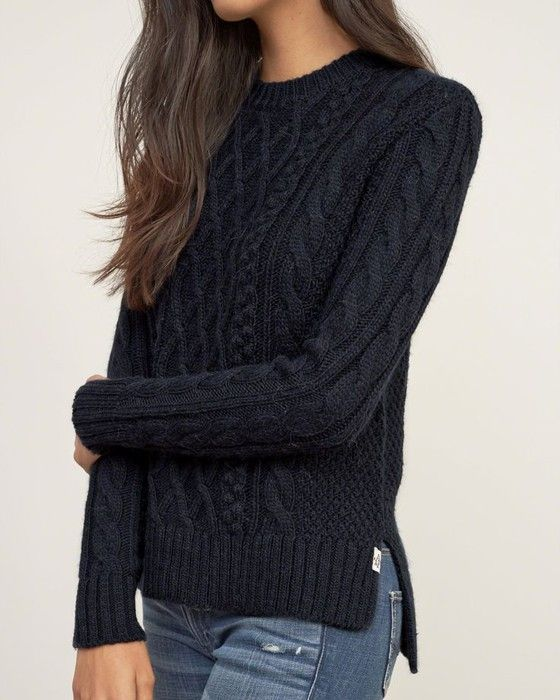Navy Blue Plain Round Neck Pullover Sweater | Cable knit sweaters ...