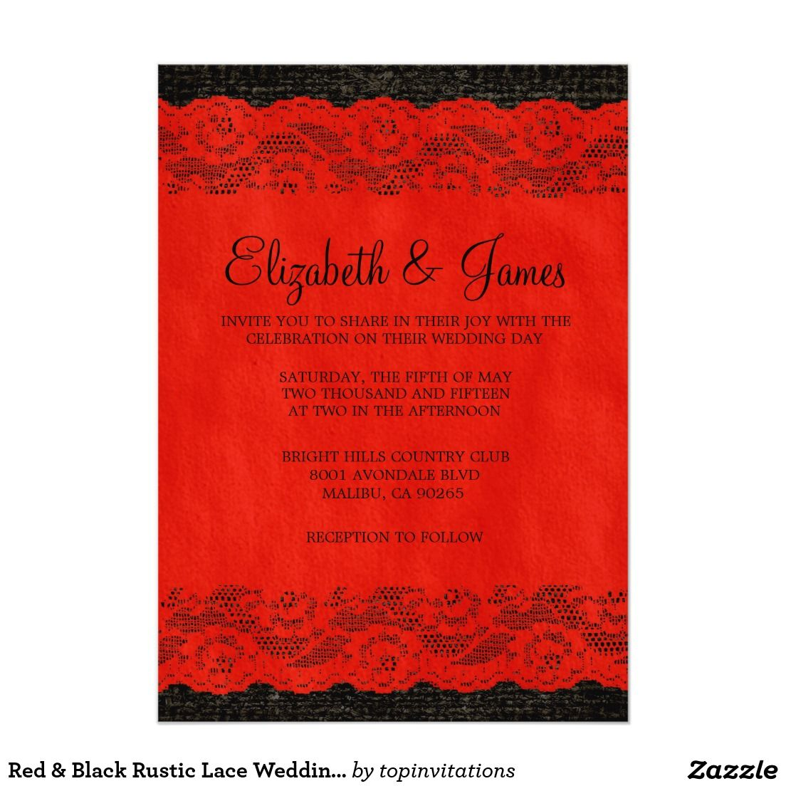 Red & Black Rustic Lace Wedding Invitations | Lace weddings, Red ...