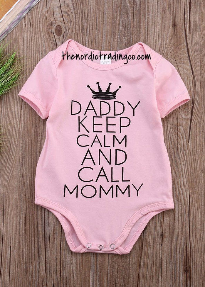 39436c71c75fe AND CALL MOMMY Baby Girl's Pink Onesie. A light hearted take on parenthood.  0-6mo or 6-12mo. An adorable gift for Baby that both Mommy and Daddy will  enjoy.