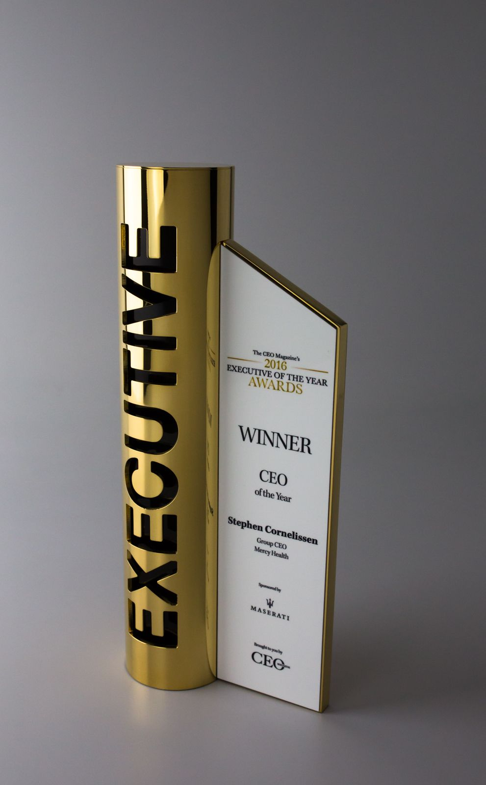 Unity tall modern trophy creative design beautiful materials not glass - Ceo Magazine Australia Award Trophy Design Awards
