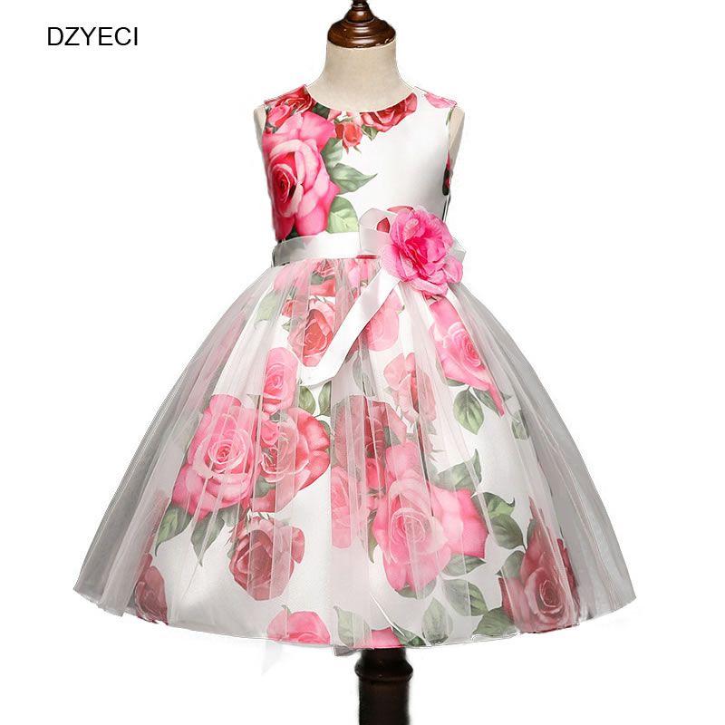8e713c6b872 Pas cher DZYECI Bébé Fille Fleur Robe Pour Robe de Demoiselle D honneur  Costume De