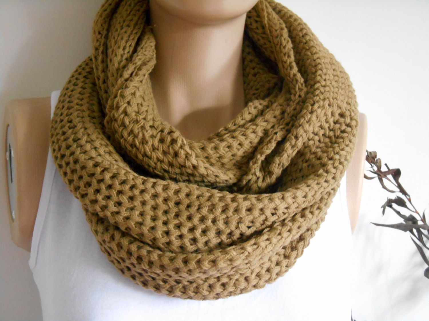 Knitting Loop Scarf : Camel scarves loop scarf İnfinity unisex circle