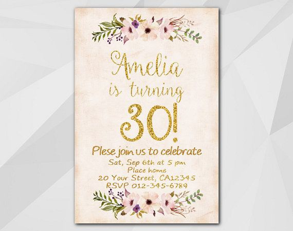 Watercolor Gold #Birthday Invitation by Digi #Invites https://www.etsy.com/shop/DigiInvites/    **Text can be changed for any occasion **This listing is for a customized prin... #birthday #invitations #party #invites