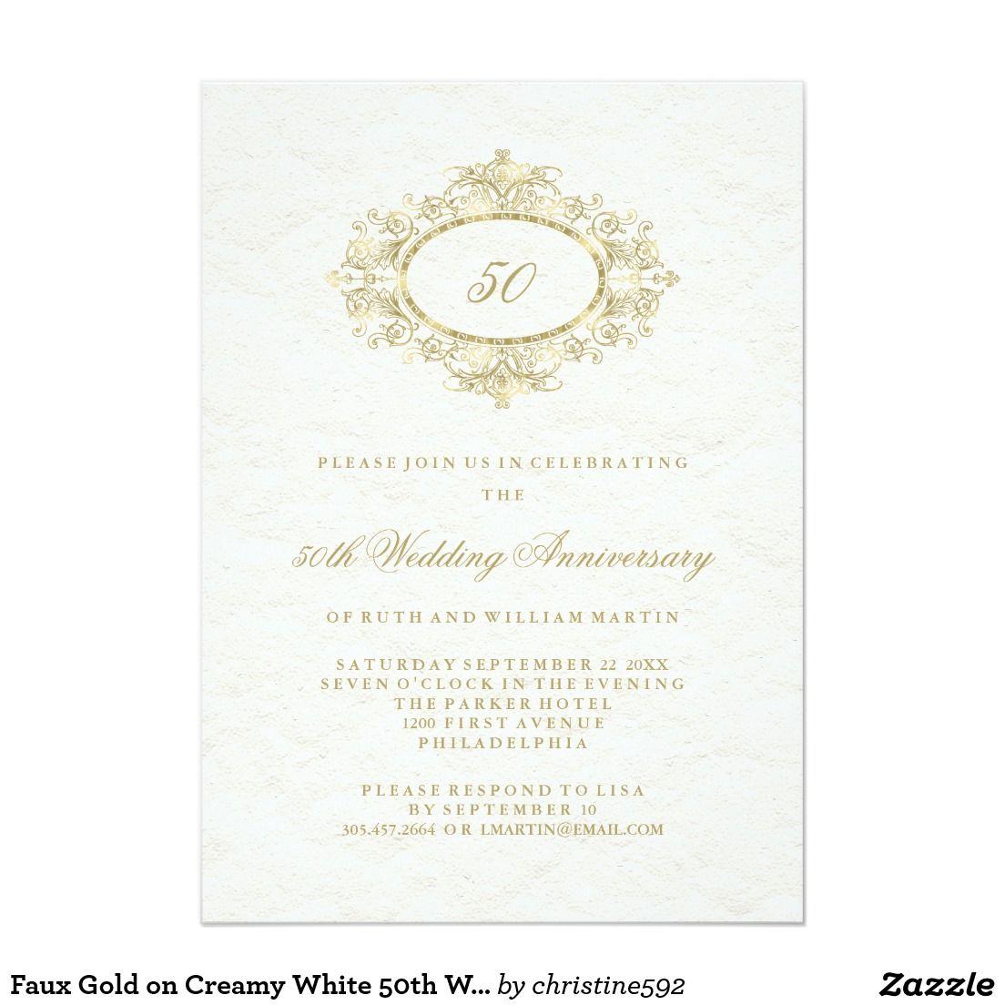 Faux Gold on Creamy White 50th Wedding Anniversary Invitation Card ...