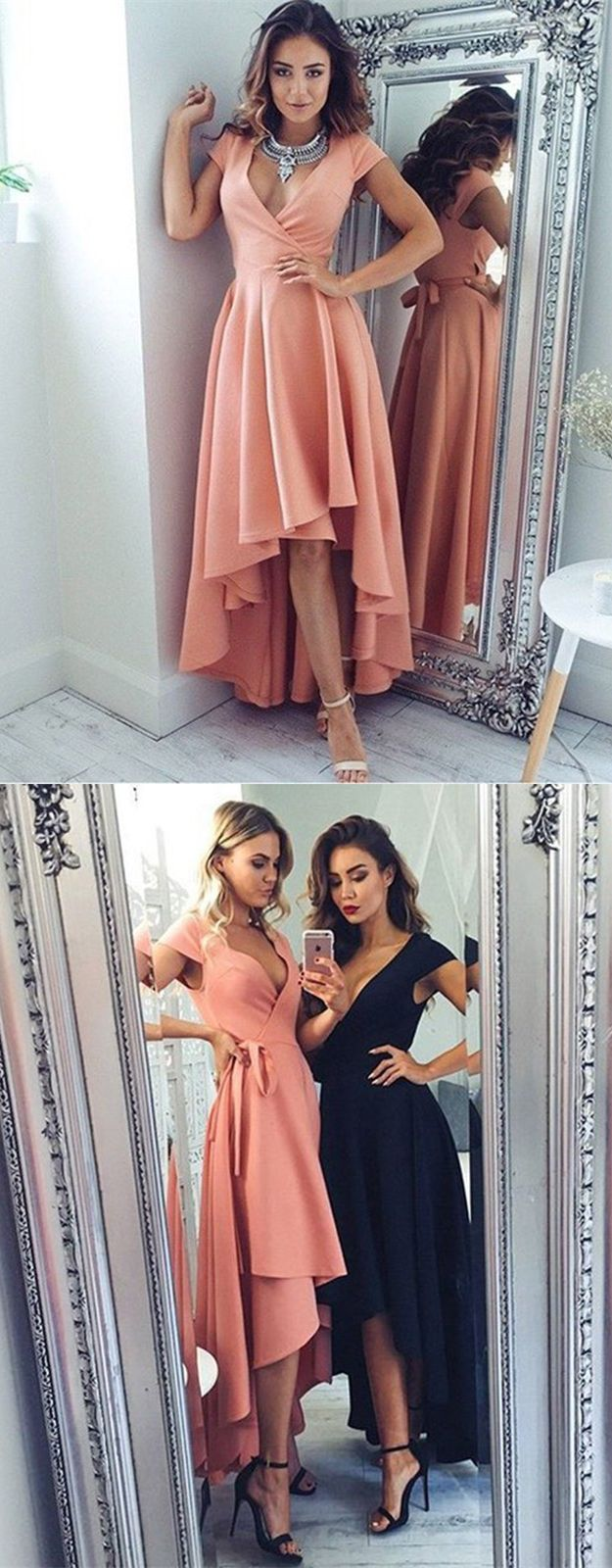 High low vneck cap sleeves blush satin prom dress with sash