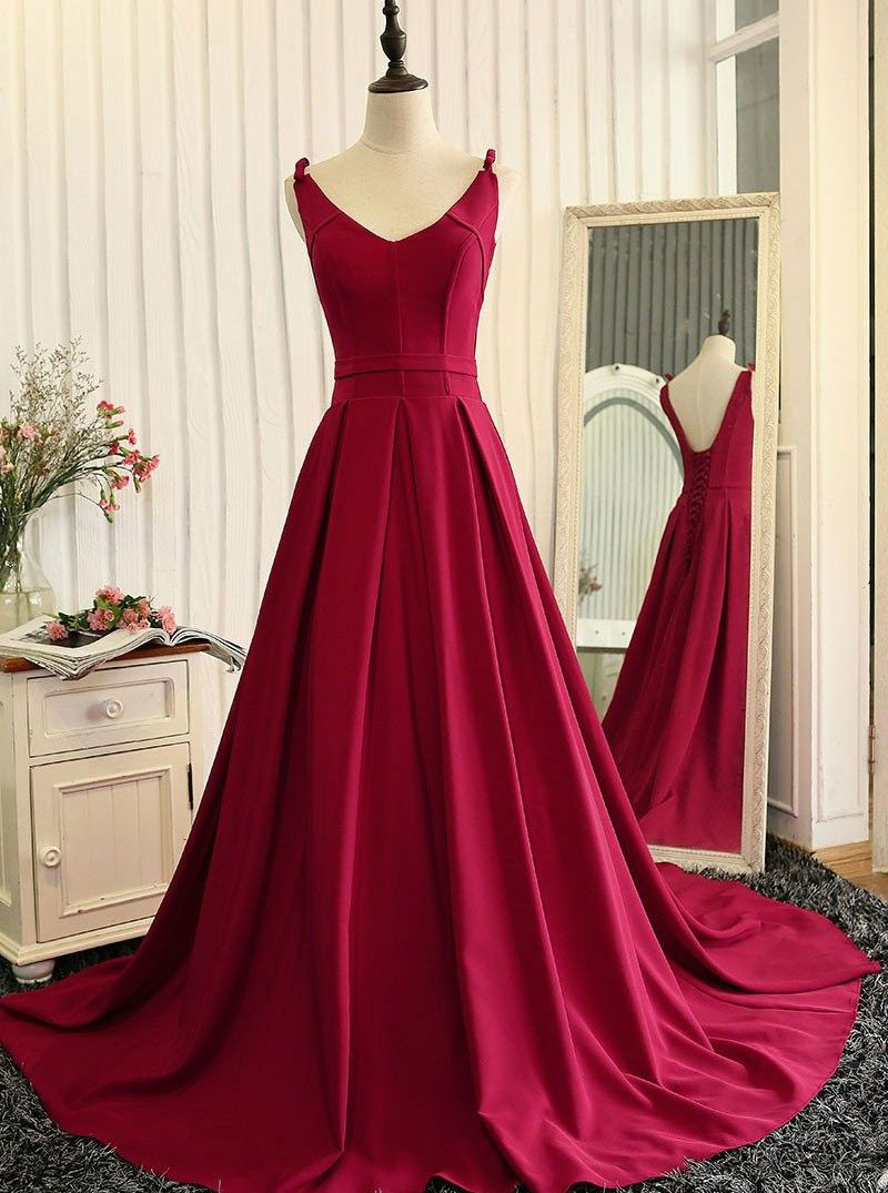 Elegant prom dresses aline red prom dresses backless prom dresses