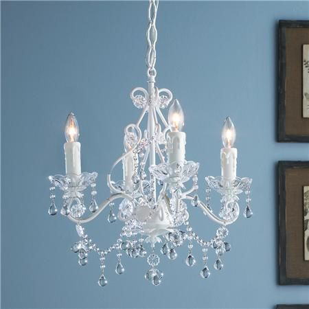 Vintage Style Painted Metal and Crystal Chandelier - 4 light - Vintage Style Painted Metal And Crystal Chandelier - 4 Light Girls