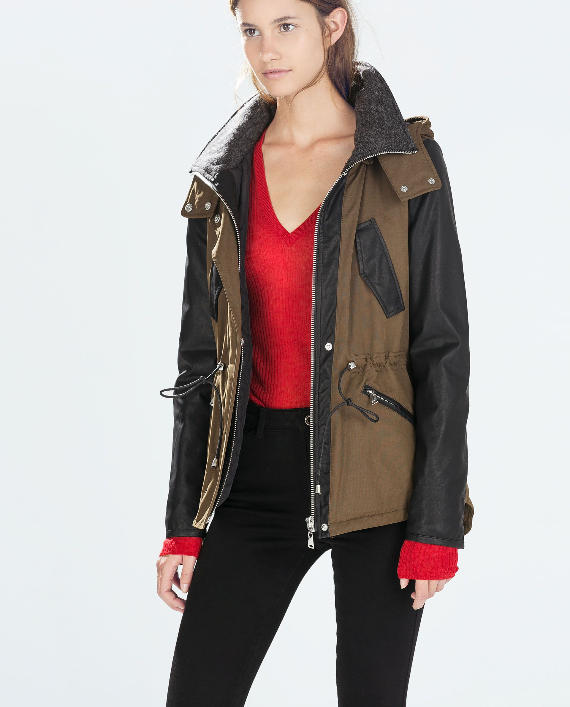 Image 2 of COMBINED HOODED PARKA from Zara Faux leather