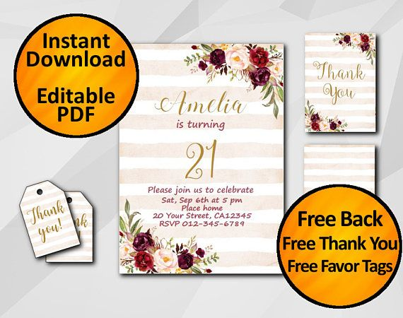 21st birthday invitation stripped peach Instant Download