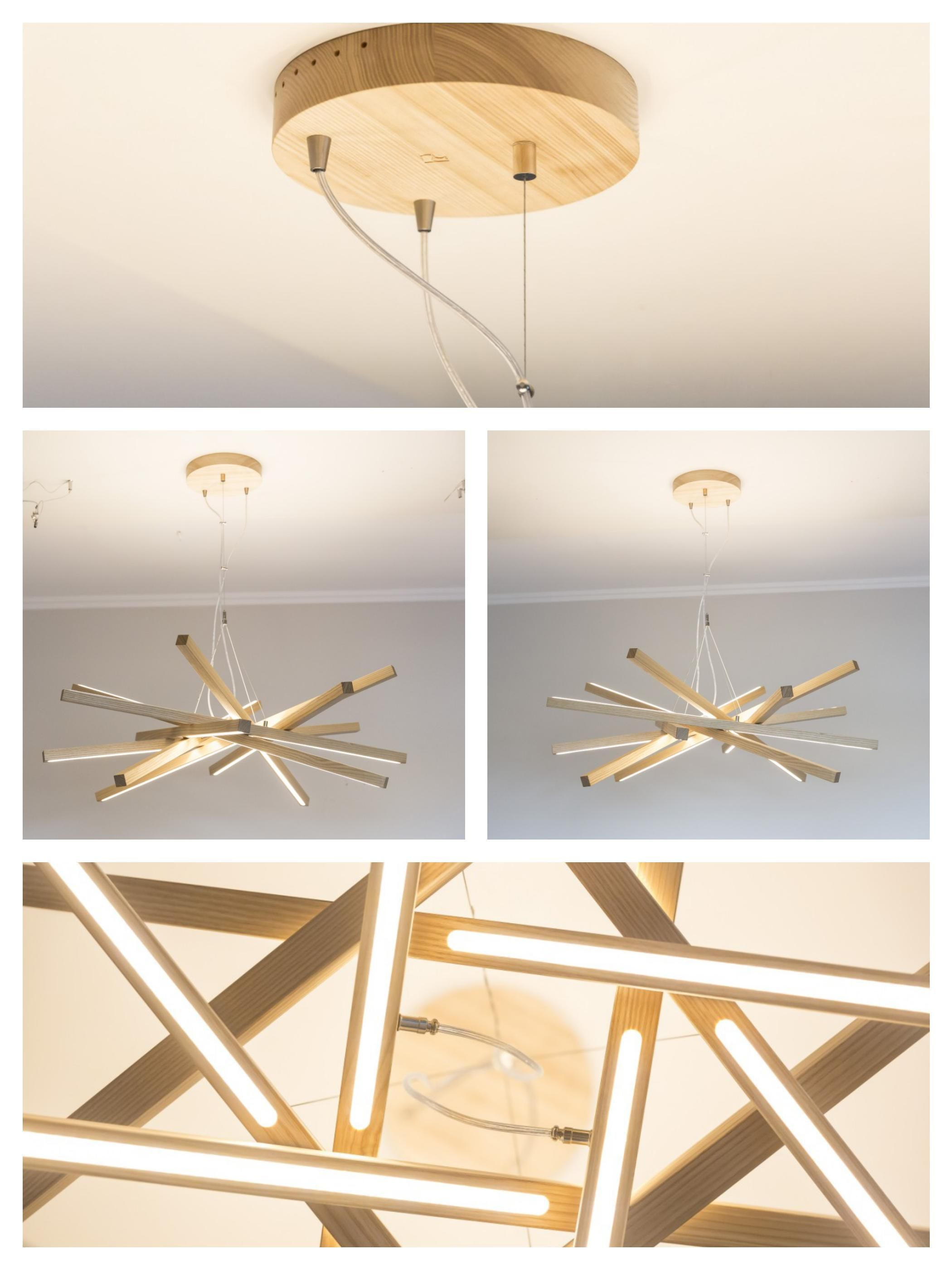 Original And Unique Wooden Chandelier With Led Lighting Lighting