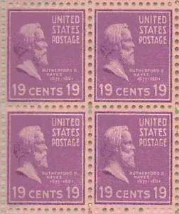 Rutherford B Hayes  19 Cent Postage Stamp