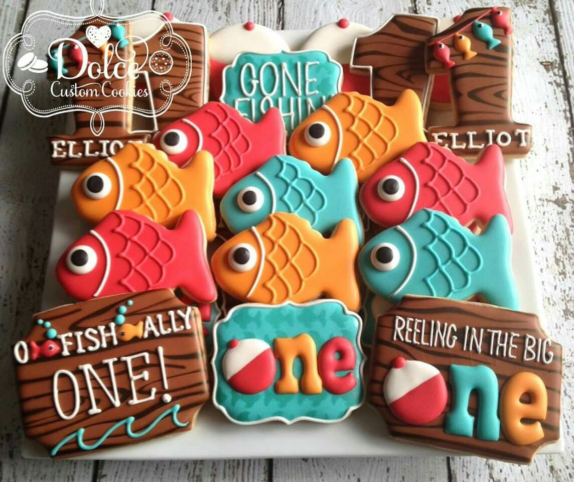Dolce fishing theme cookies 1st birthday decorated for First birthday fishing theme