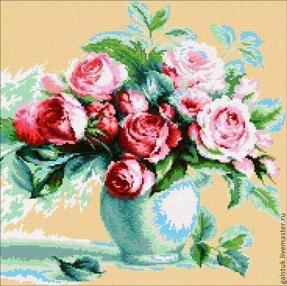 """Схема для вышивания бисером """"Чайные розы"""" с полной зашивкой - купить схему вышивки"""