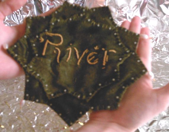 Dr Who Inspired  Hand Sewn River Song Prayer Leaf  by SciFiKnits