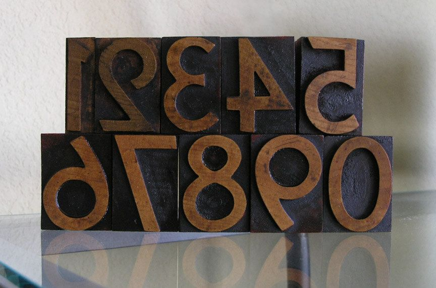 Letterpress Wooden Printer Type Complete Set of Numbers