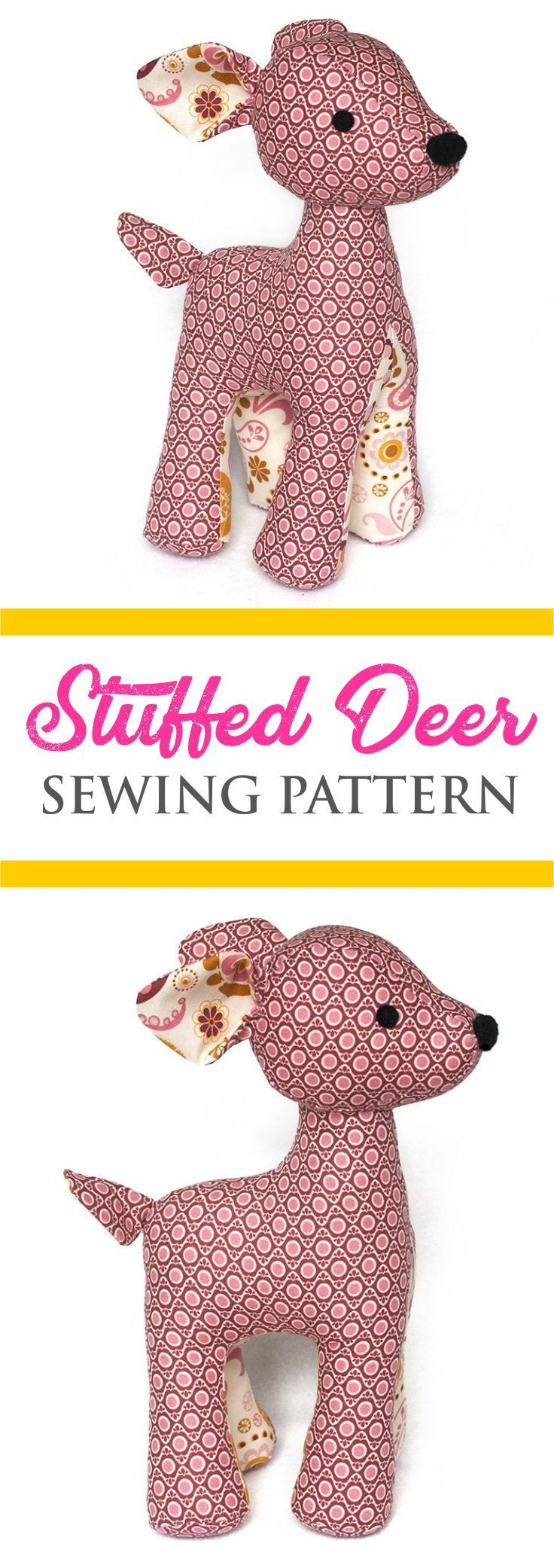 Stuffed Deer Sewing Pattern #sewingprojects