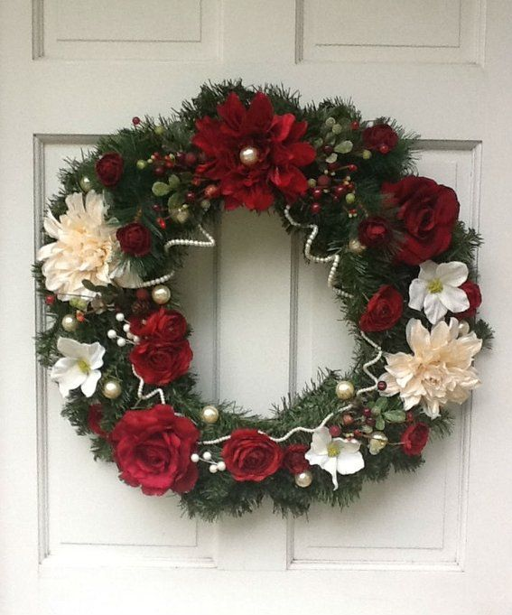 Custom Made Silk Floral Christmas Wreath Wreaths Pinterest - christmas wreath decorations