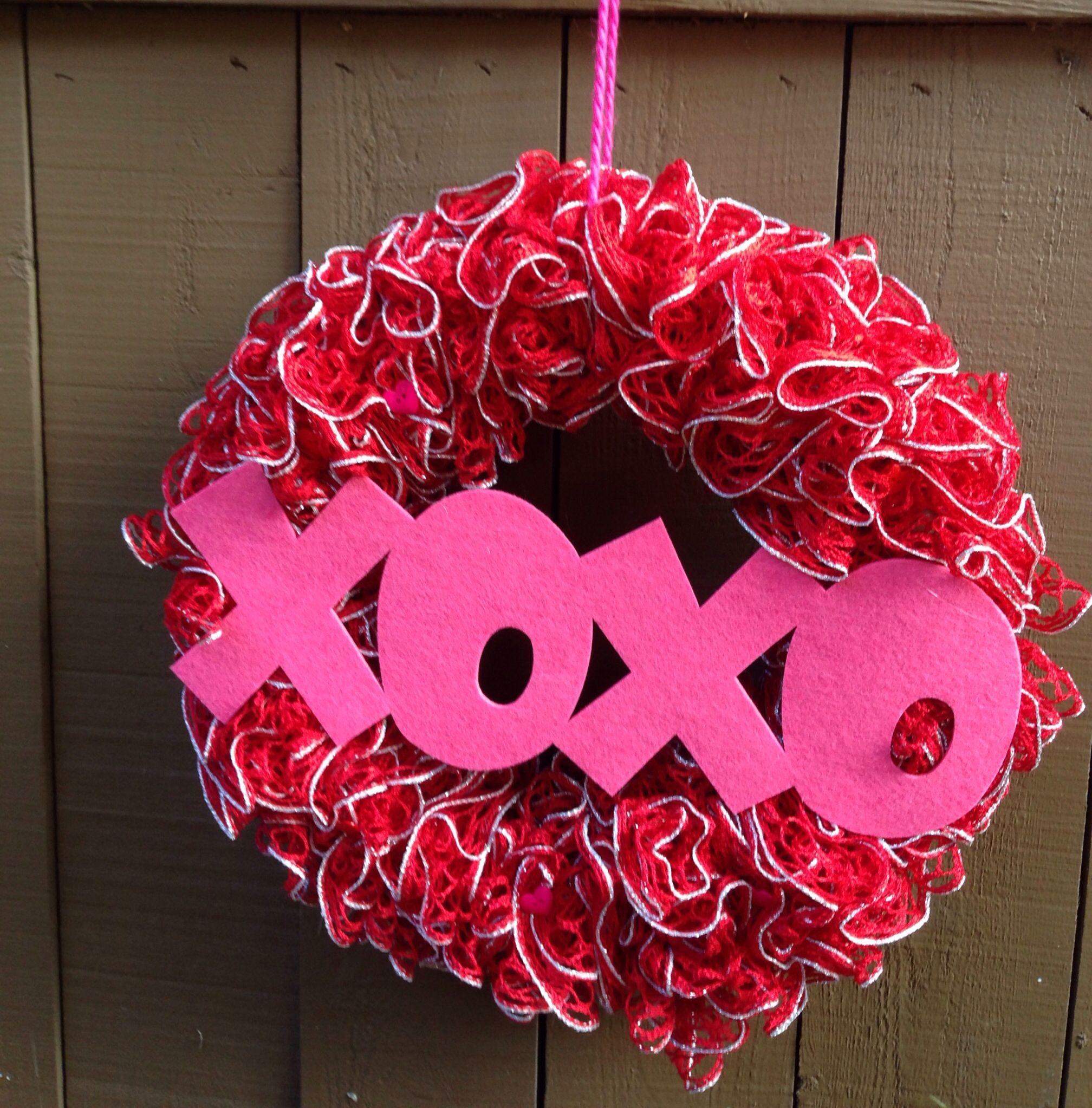 Red Heart Sashay yarn wreath for valentines day. No pattern-I used 2 ...