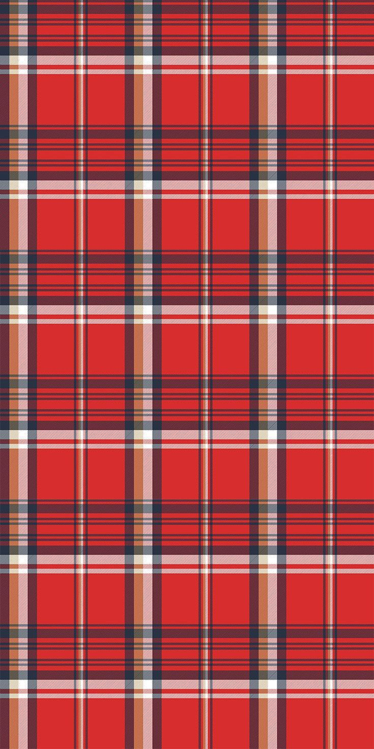 Red plaid fabric texture pixel seamless pattern. Stock