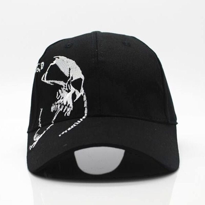 The Punisher Adjustable Sport Skull Baseball Cap Flat Embroidery Men Cap Black