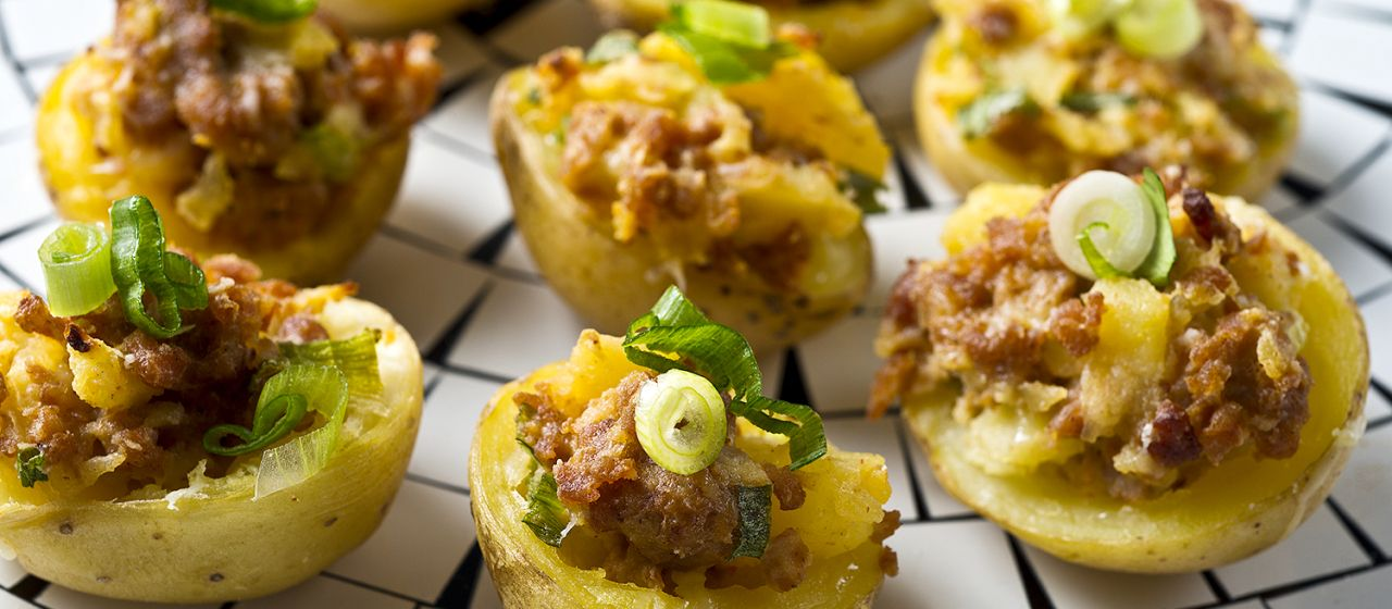 Chorizo Potato Bites Recipe Our favorite taco recipe in bite-sized party.  Tailgate here we come.