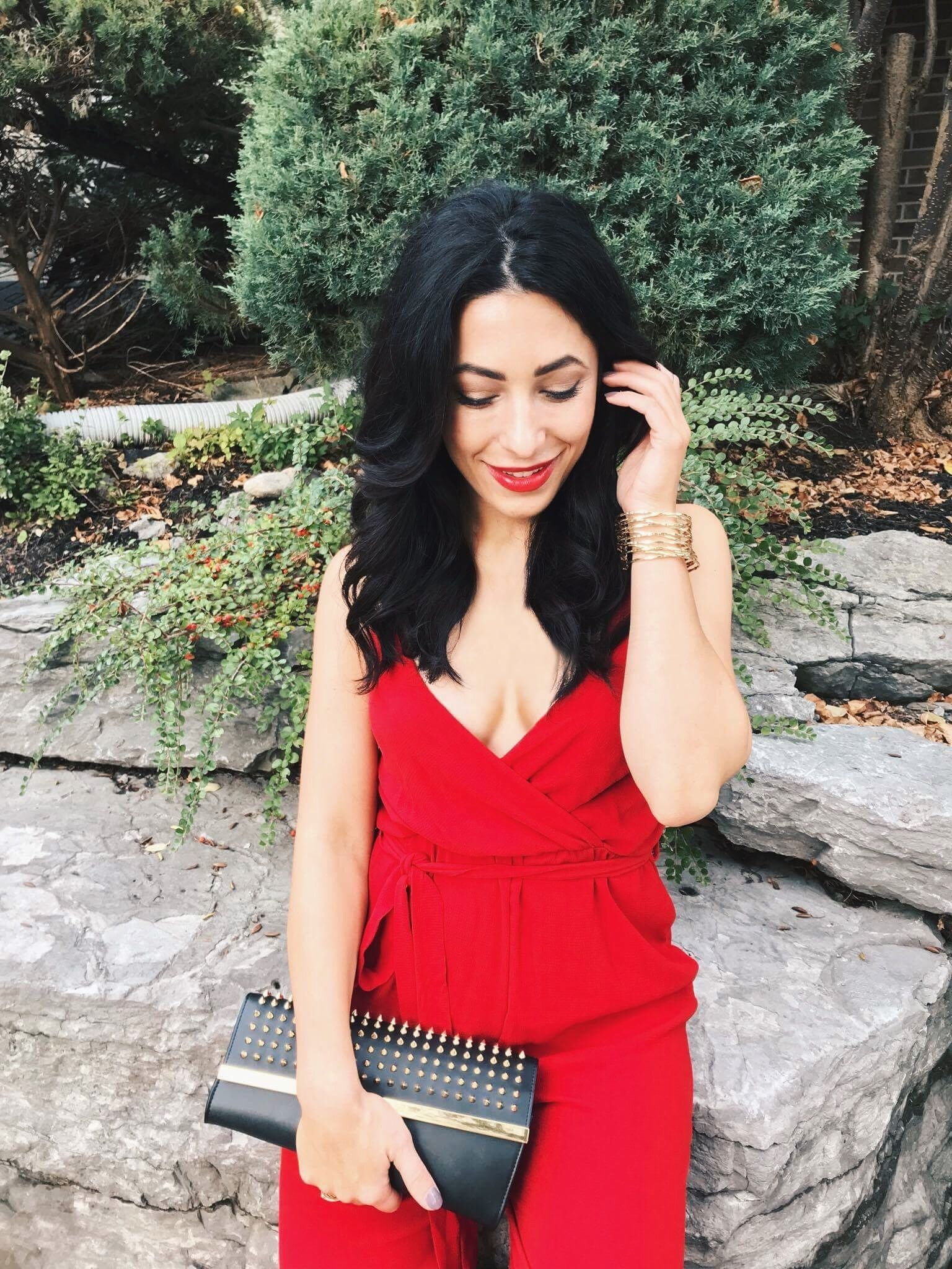 Red jumpsuit and red lips myfashavenue stylechat style