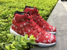 af4f63a59dc83e New Supreme x Louis Vuitton x Air Jordan 11 Gym Red Black-White For Sale
