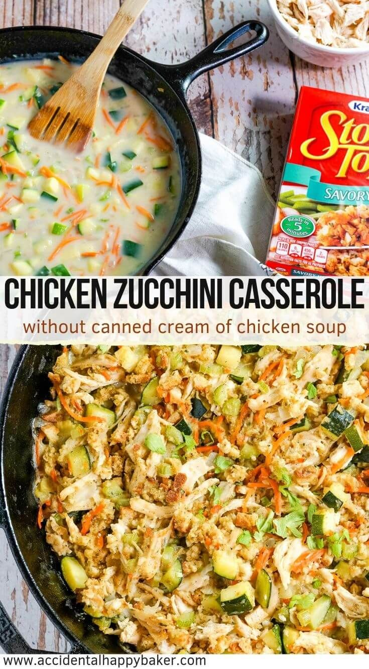 Chicken Zucchini Casserole is the perfect hearty weeknight dinner and a great way to sneak in more veggies Chicken vegetables and stuffing are tossed with a creamy homema...