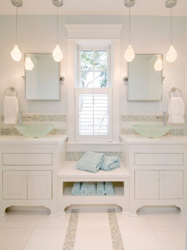 Image Of Stunning Cottage Bathroom Vanity Lighting Using Pendant Lamp Over White Cabinets Color Scheme Including
