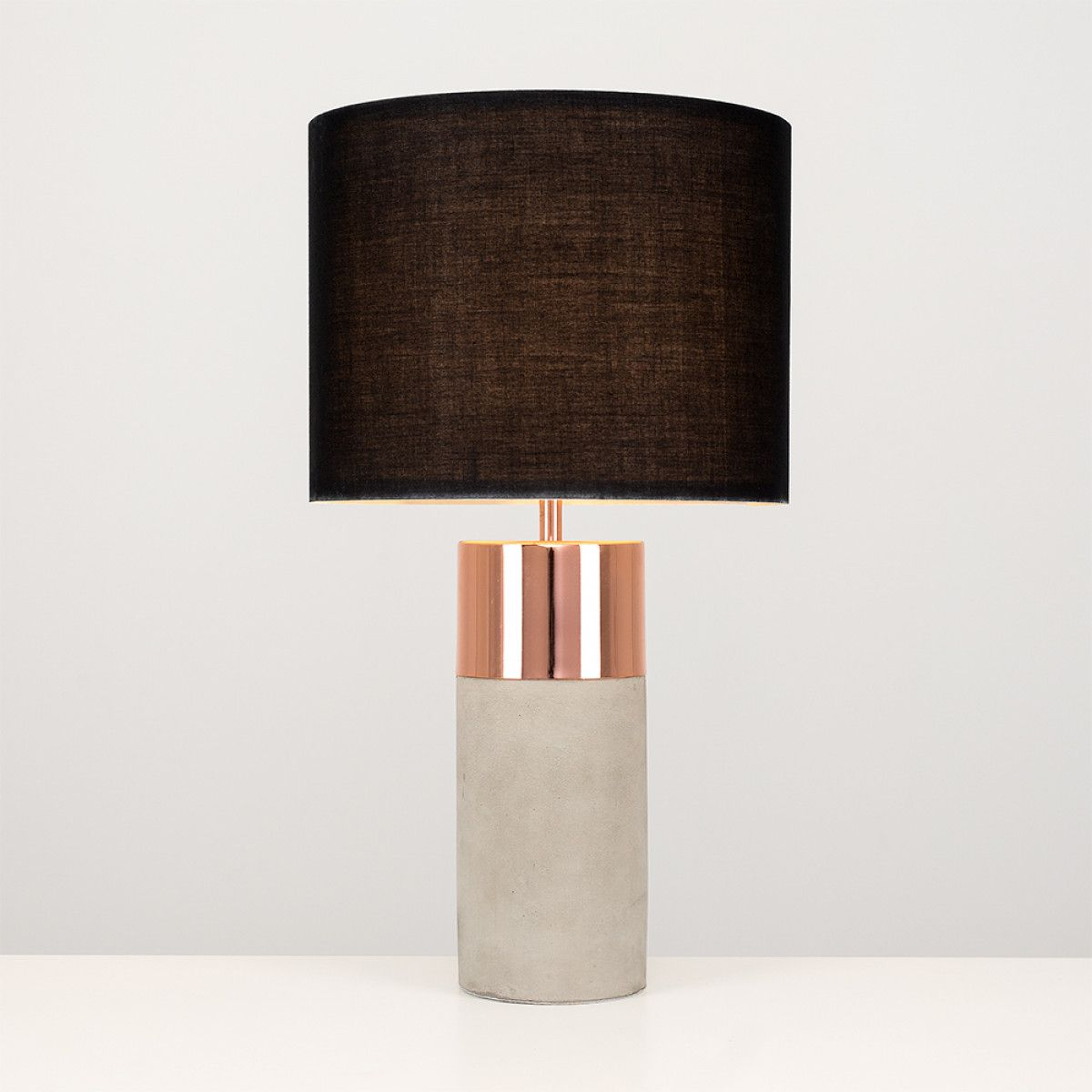 iconic lighting. Finley Cement And Copper Table Lamp, Black Shade Iconic Lighting
