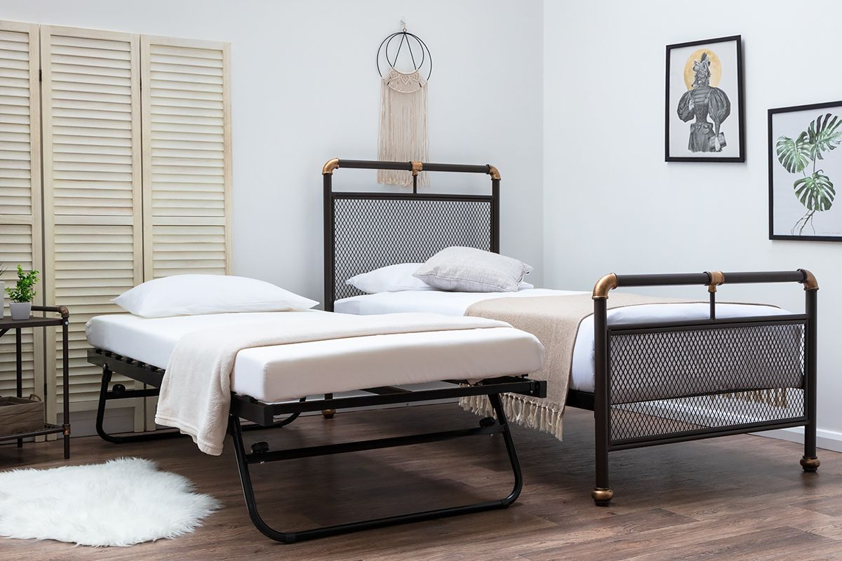 Modern Industrial Style Single Metal Bed Frame With Guest Bed