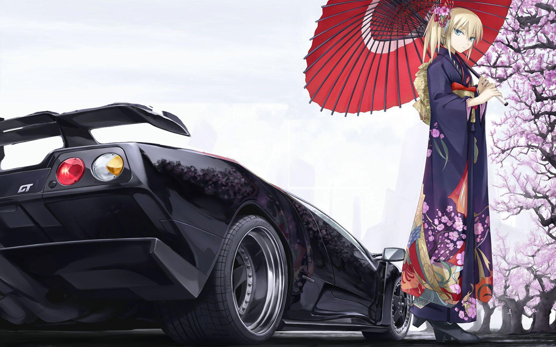 Download wallpaper car, girl, sakura, ferrari gt, anime
